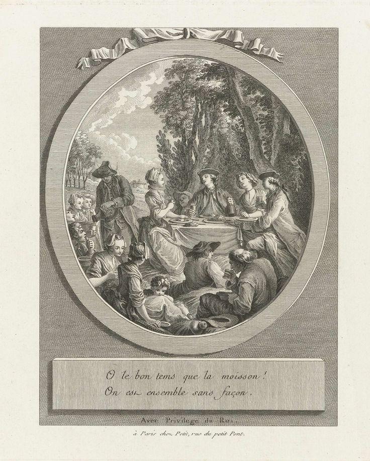Pierre Adrien Le Beau | O le bon tems que la moisson ! / picknick, Pierre Adrien Le Beau, Petit (uitgever), 1758 | Picknick: een gezelschap van twee mannen en twee vrouwen zittend aan en tafel in de buitenlucht. Om hen heen zitten etende en drinkende  mensen op de grond. Kleding: burgerkleding 1768.