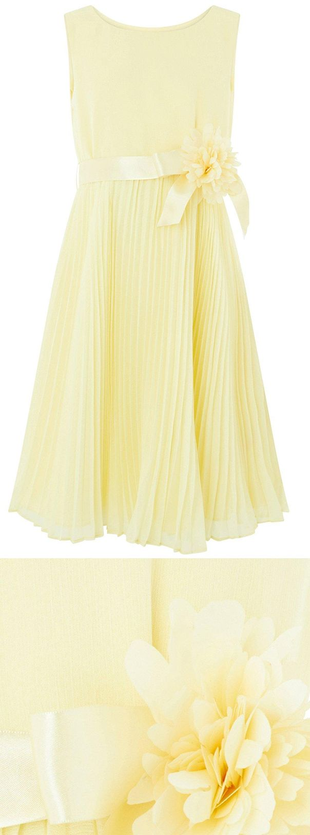 Monsoon Keita Dress in Yellow, sweet Flower Girls, young bridesmaids dress for a spring wedding or Easter wedding, Easter party dress, with long pleats skirt and big flower sash waist belt. Fashion, wedding ideas, wedding outfits inspiration. #flowergirls #bridesmaids #flowergirlsdresses #flowergirlsdress #yellowdress #weddingideas #weddinginspiration #springweddings #affiliatelink #monsoondress #pleateddress