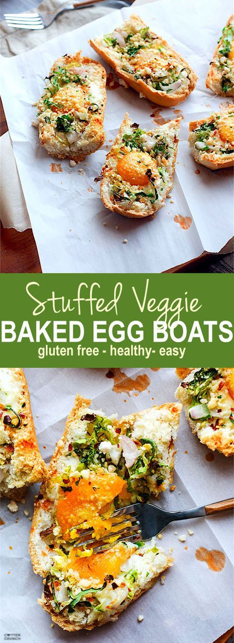 Healthy and gluten free Vegetable Stuffed Baked Egg Boats! For breakfast, brunch or a yummy snack!