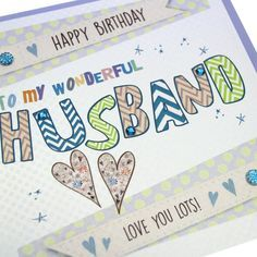Handmade Men's Birthday Card Gold Shimmer Dotty Sparkling Crystals - 'To my Wonderful Husband'