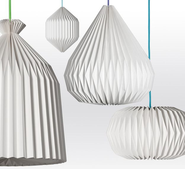 Suspensions en papier plissé éditées Made in Design