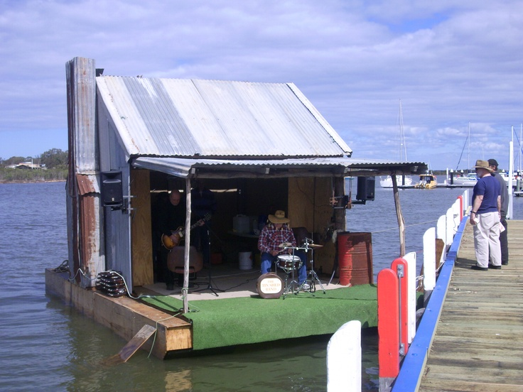 The floating shed on McMillan Strait at Paynesville in the Gippsland Lakes