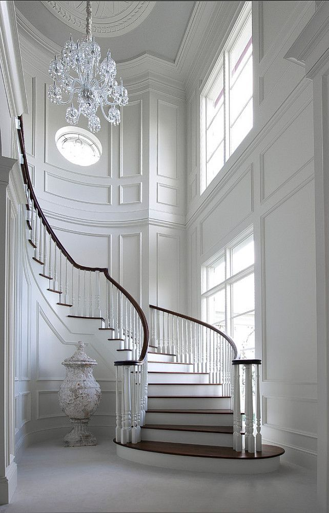 #French #Entryway French Entryway. Unbelievable white entry foyer and curved staircase, fabulous trim
