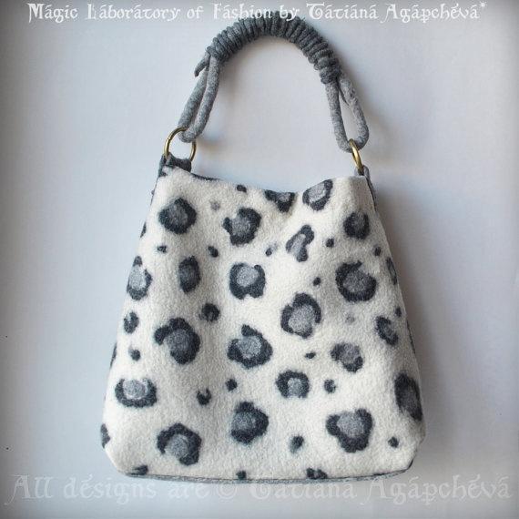 Bag Handbag Hobo Felted Ivory Grey Charcoal The Snow by TianaCHE