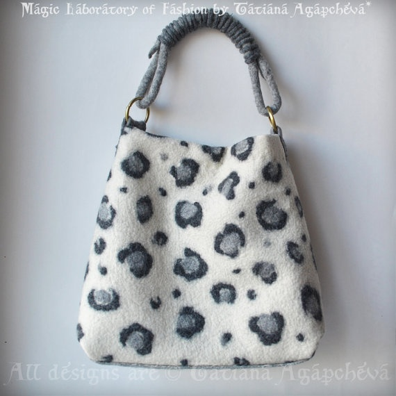Bag Handbag Hobo Felted Ivory Grey Charcoal The Snow by TianaCHE