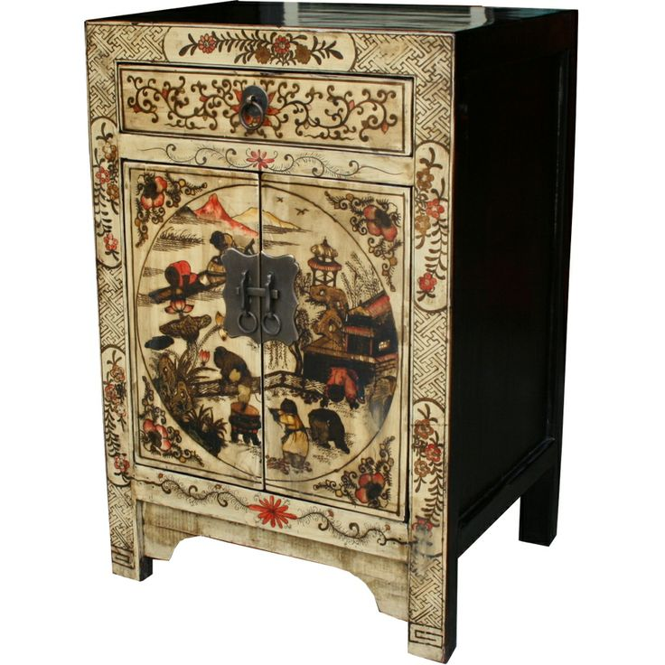 Cream Painted Bedside Table :: Bedside Tables :: Chinese Furniture ::  Chinese Antique - 66 Best Chinoiserie Japonism Orientalism Images On Pinterest