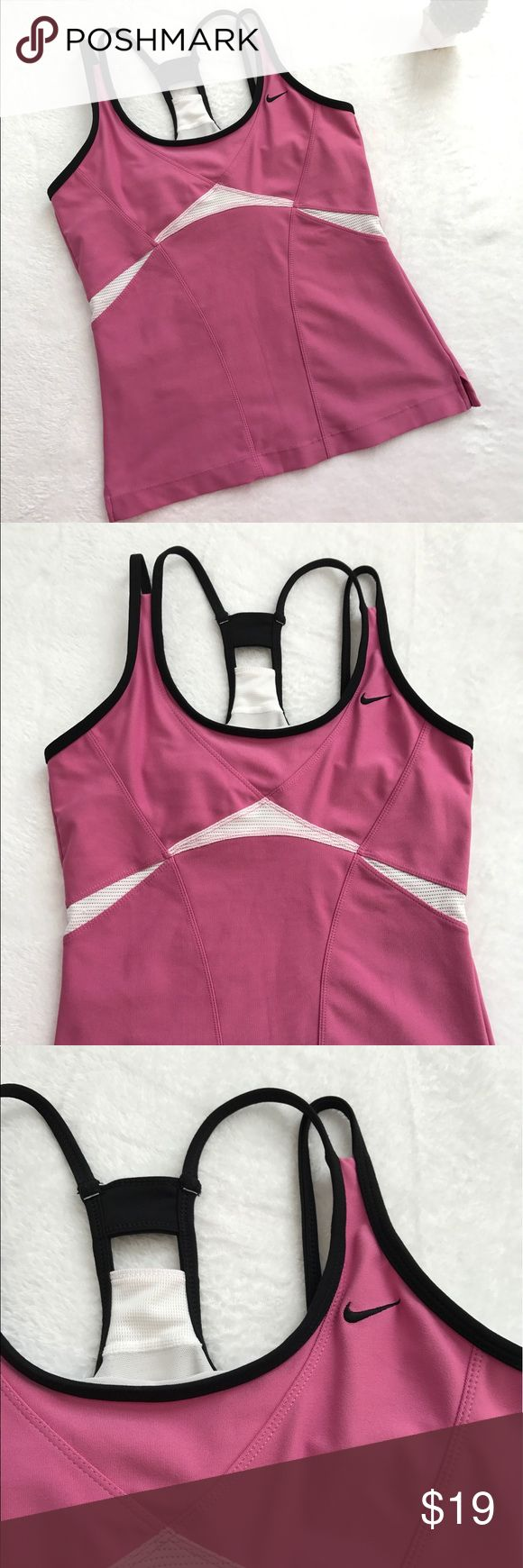 {Nike} Strappy Racer Back Yoga Running Top Built in bra (without padding). Great condition. Some wear on the back as pictured, but no stains or holes. Nike Tops Tank Tops