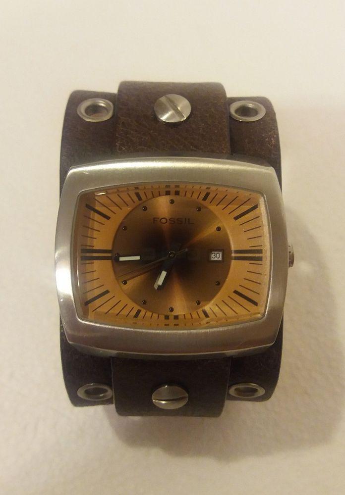 Vintage Fossil JR-8254 Men's Wide Leather Analog Quartz Watch Time Hour Date  | eBay