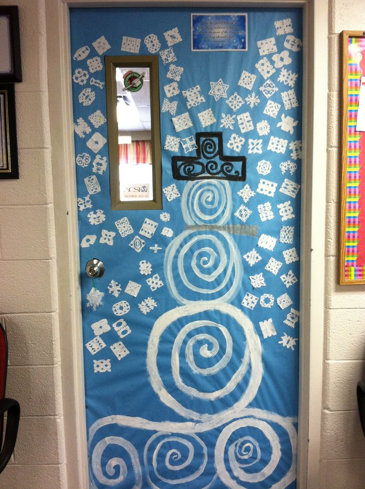 Snowflakes And Snowman Door Decoration Idea By WHCA