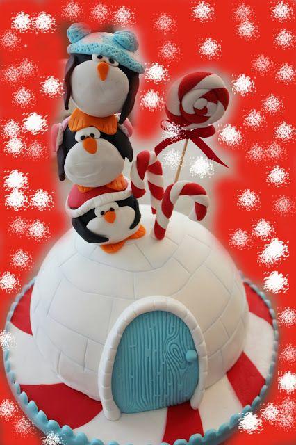 Igloo cake with penguins