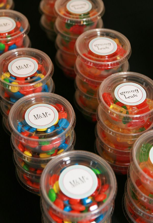 Movie Treats! Buy in bulk and portion out and label.