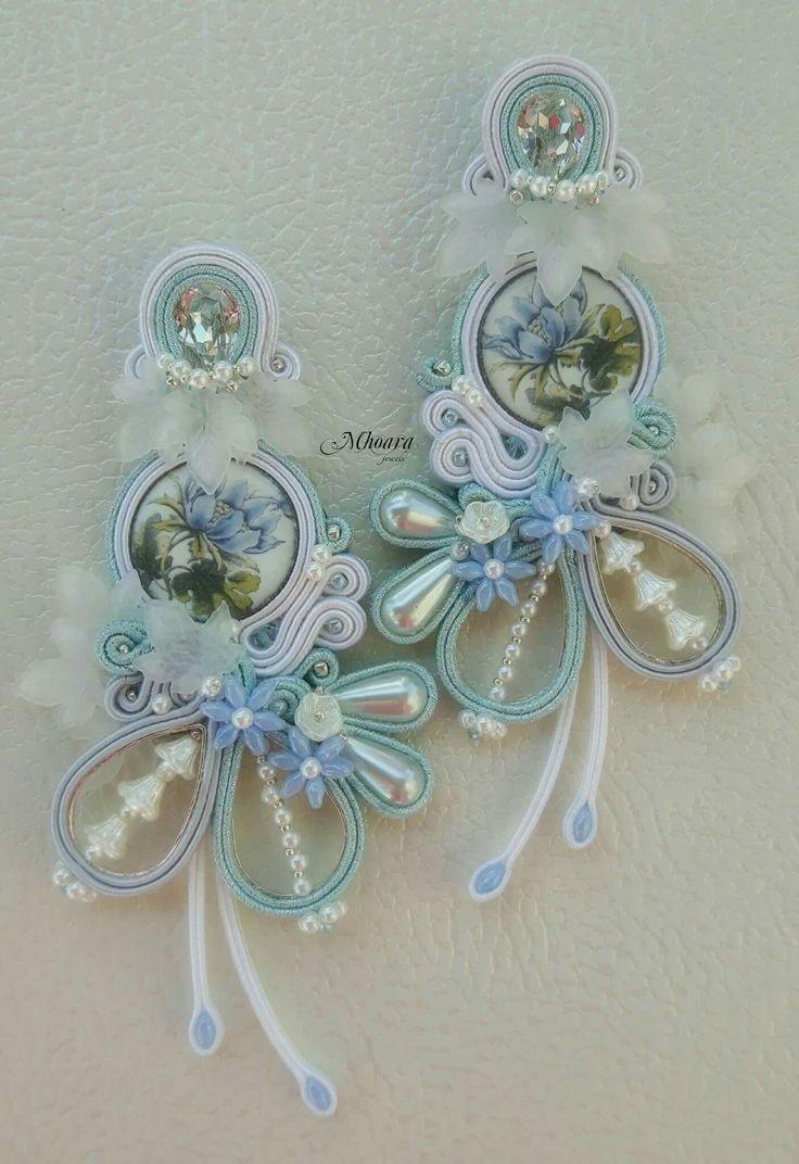 'Heavenly Flowers'  - majolica design -  Soutache Jewelry by Mhoara