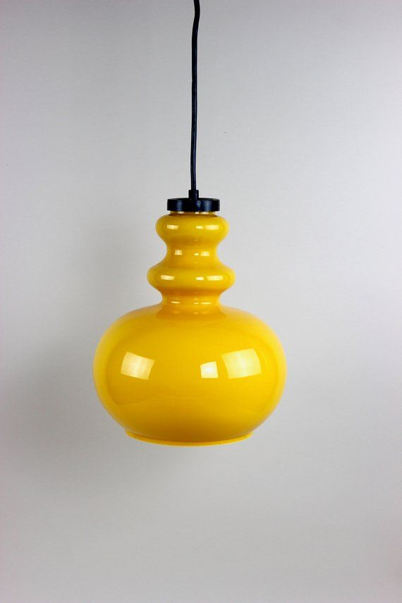 Vintage Glas Lampe Gelb Deckenlampe Hangelampe Leuchte Etsy Ceiling Lights Light Bulb Light