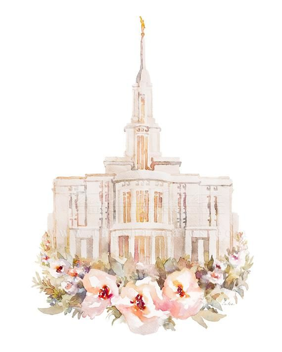 Payson Utah Temple Painting Watercolor Floral Print