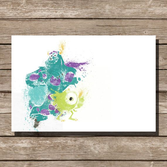 Disney poster Pixar poster Monsters Inc movie poster art print disney poster movie art fan art pixar movie poster