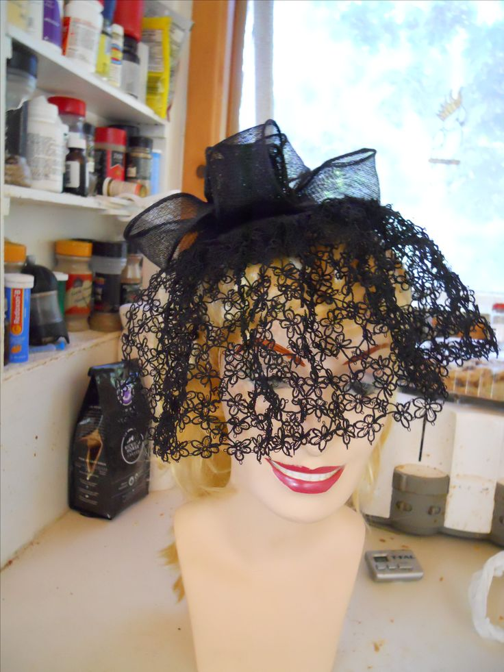 Fascinator hat with tatted veil.  Soon to go on Etsy