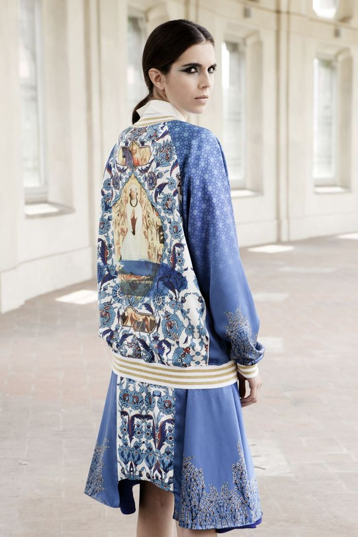 Oh Mio Dio, Rick Lee's S/S 2014 collection reflects Islamic traditional patterns, motifs, colors and catholic fresco wall art - combining the two elements of each religion...