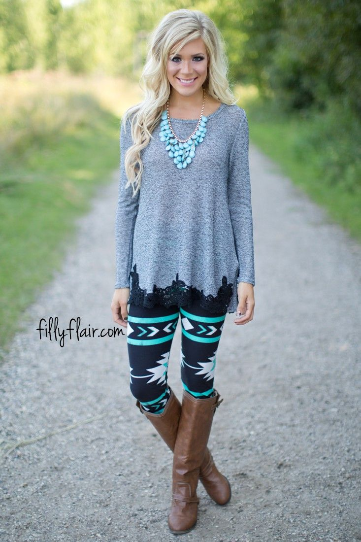 Santa Fe Aztec Leggings in Mint - Bottoms
