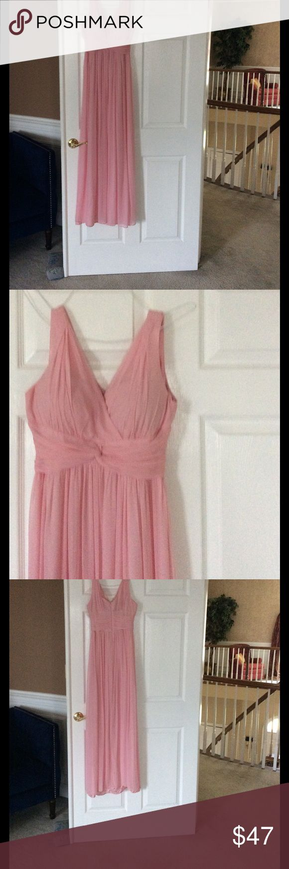 Donna Morgan pink long dress size 0 Donna Morgan pale pink long dress size 0 the hem can just be cut to size only worn once paid 300 selling cheap tiny hole on bottom back can easily be sewn or glued Donna Morgan Dresses Maxi