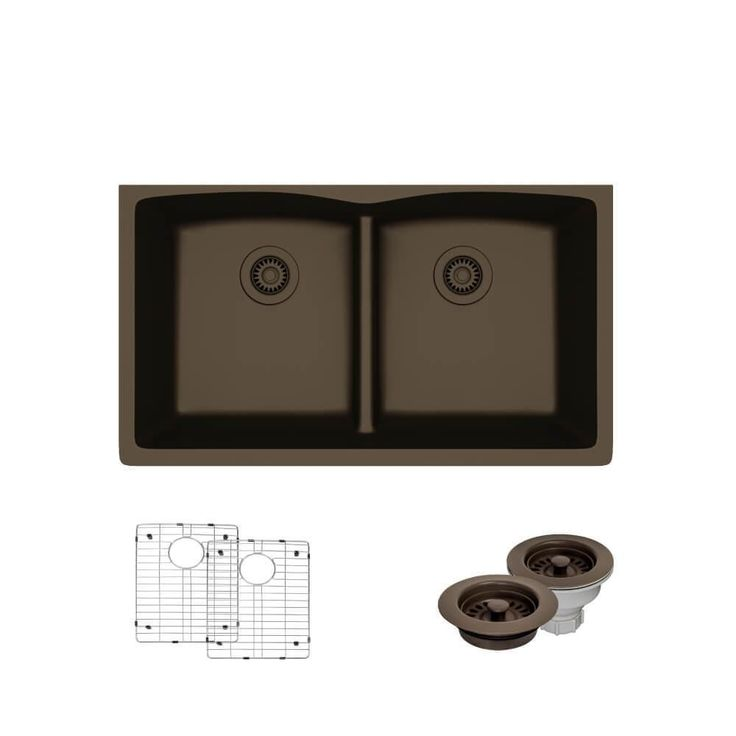 Double Bowl Kitchen Sink In Umber (Brown)
