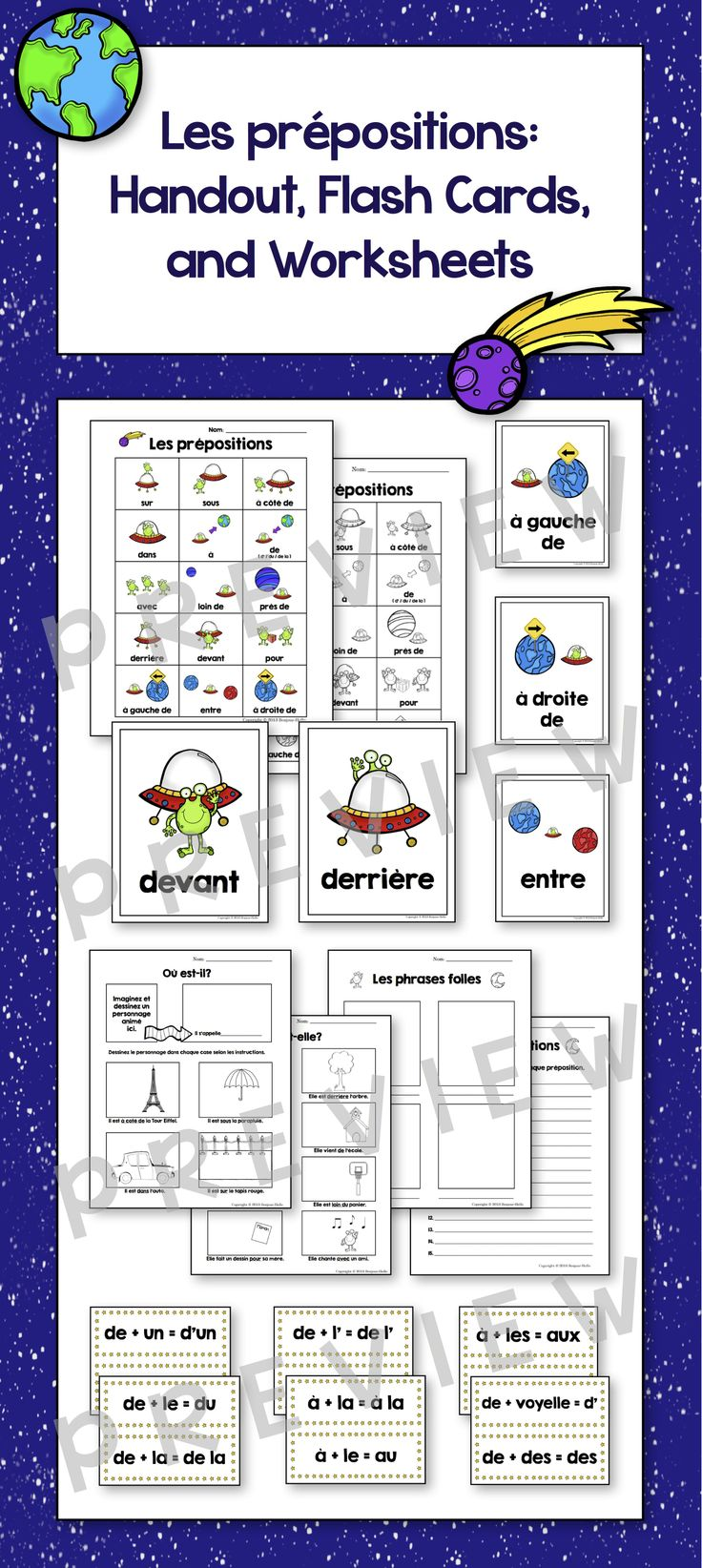 NEWLY UPDATED! Les prépositions - French Handout, Flash Cards, and Worksheets: NEWLY UPDATED with 3 new prepositions flash cards and an updated handout too. Check it out!