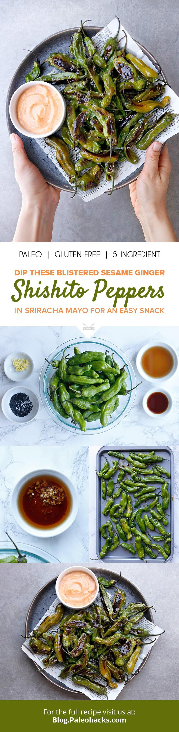 To bring out the flavor of the Shishito peppers, this easy recipe tosses them in a sweet and salty sauce made from toasted sesame seed oil, coconut aminos and fresh ginger. get the full recipe here: http://paleo.co/shishitopeppers