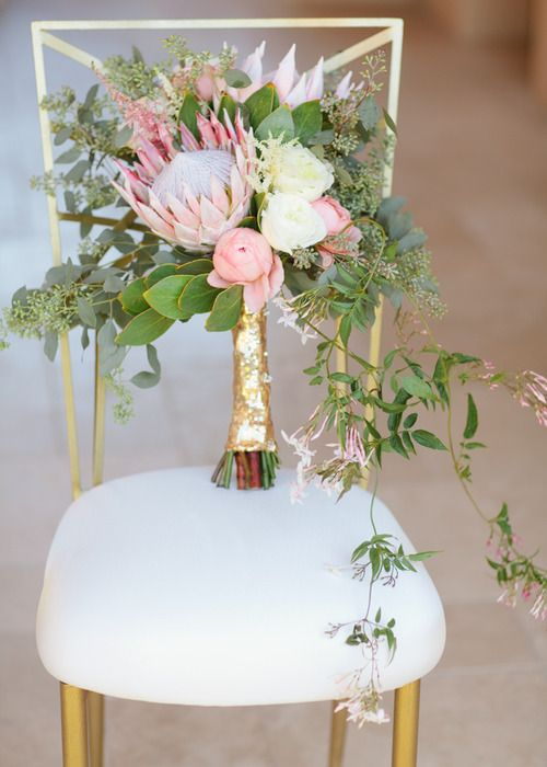 Wedding Inspiration pink and mint gold wedding flowers bouquet. Different!