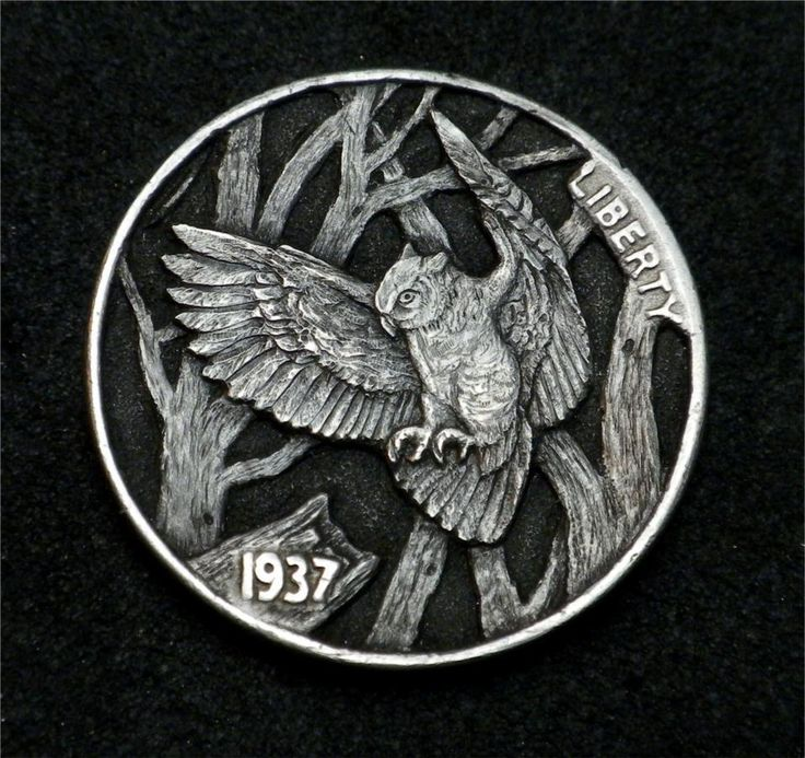 """Hobo Nickel """"The Night Prowler""""  Great Horned Owl Coin by Howard Thomas"""