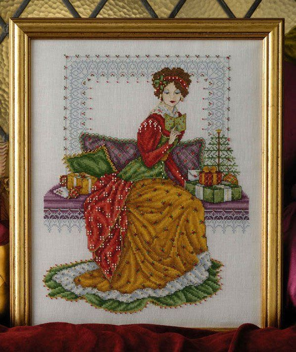 """""""Victorian Christmas""""  copyright Joan A. Elliott photo courtesy of Cross Stitch Collection ~ """"A Victorian Christmas. I so enjoyed working on this elegant lady in her sumptuous velvet & satin dress. She is fully embellished w/ lots of beads & metallics."""""""