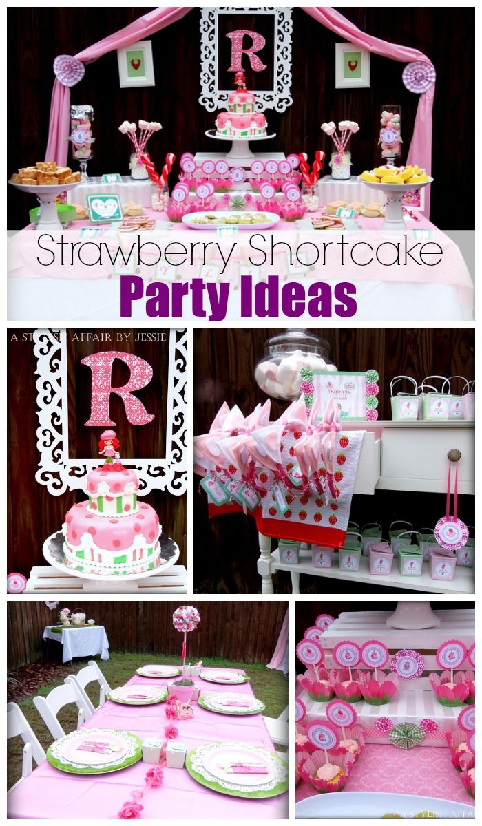 Such cute ideas at this Strawberry Shortcake girl birthday party! See more party ideas at CatchMyParty.com. #birthdaycake