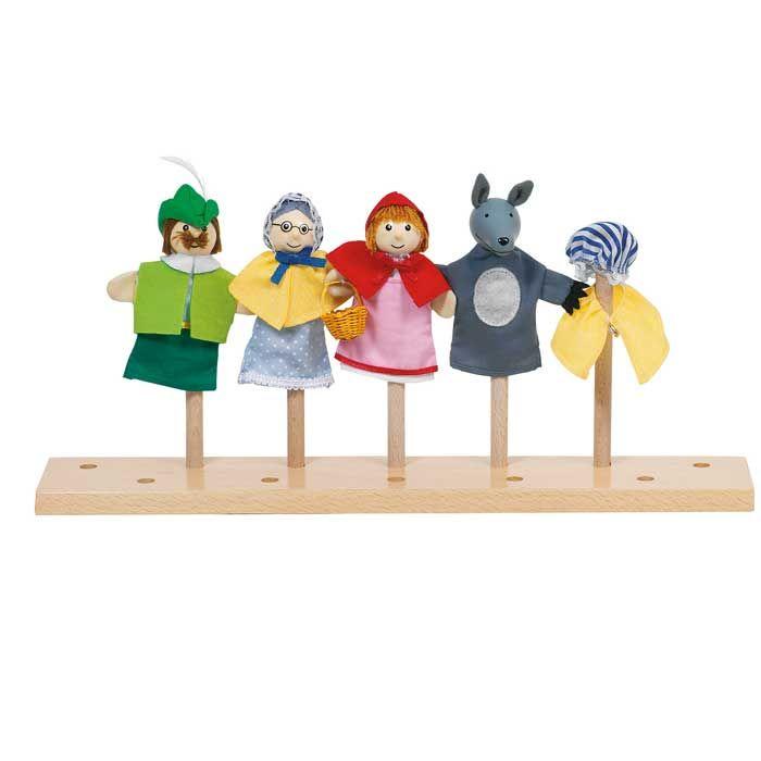 Bonito conjunto de cuatro marionetas de dedo que representan la historia de caperucita roja, además de una traje de abuelita para ponerle al lobo. También con ellas podrán inventar sus propias historias... imaginar, crear, soñar, volar.... Desarrollo del juego simbólico, procesos de imitación...