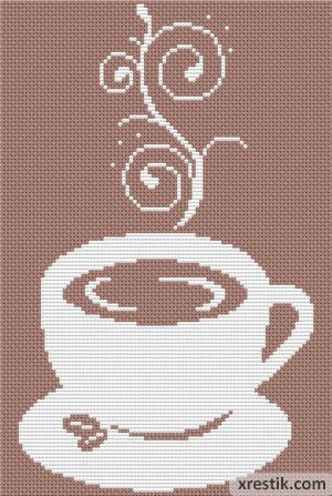 Кофе №41 Еда и напитки Монохром  Схема для вышивки scheme for cross stitch
