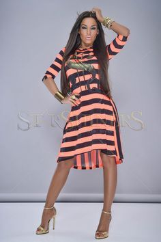 MissQ Young Lines Orange Dress