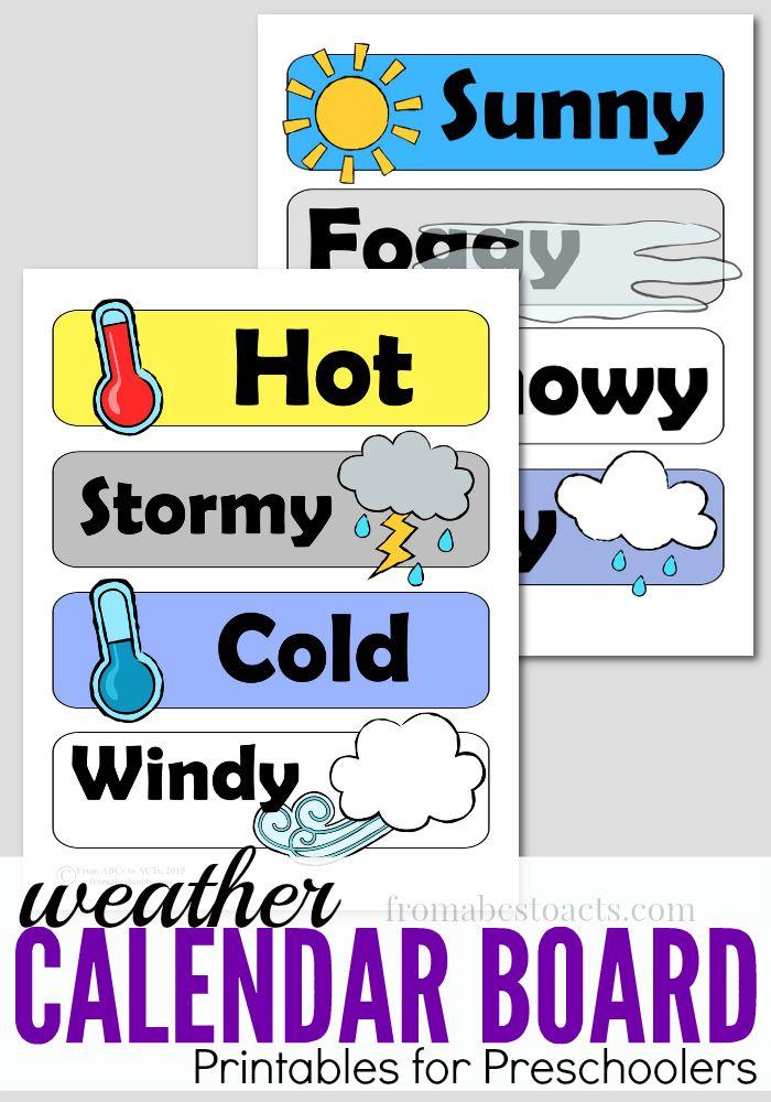 Preschool Calendar Board Weather Printables Preschool