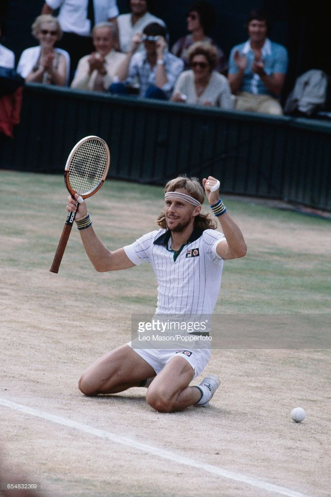 Swedish tennis player Bjorn Borg sinks to his knees after defeating Roscoe Tanner to win the final of the Men's Singles tournament, 6-7, 6-1, 3-6, 6-3, 6-4 to become champion at the Wimbledon Lawn Tennis Championships at the All England Lawn Tennis Club in Wimbledon, London on 7th July 1979.