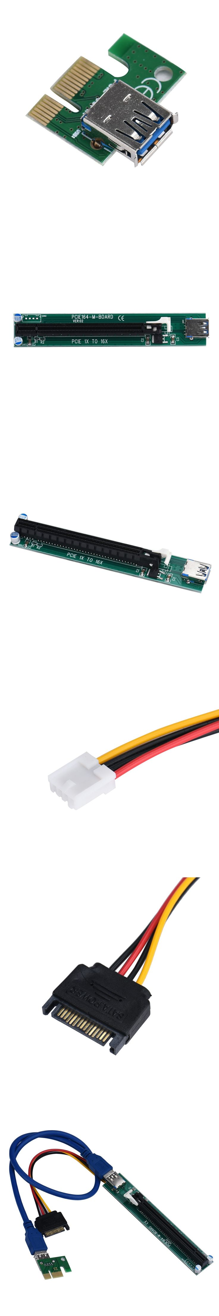 PCI-E Express 1X To 16X Extender Riser Adapter Card With Molex 60CM USB Cable TJ