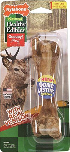 Nylabone 1 Count Healthy Edibles Large Wild Venison Dog Treat Bones 4.9oz *** More info could be found at the image url.