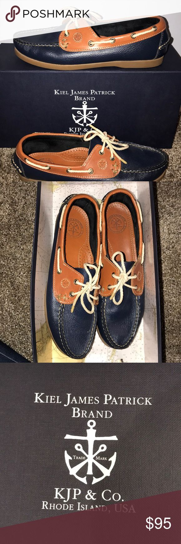 KJP women's navy blue boat shoes Super comfortable navy blue boat shoes by Kiel James Patrick. Worn only once. Perfect for spring and summer outfits KJP Shoes