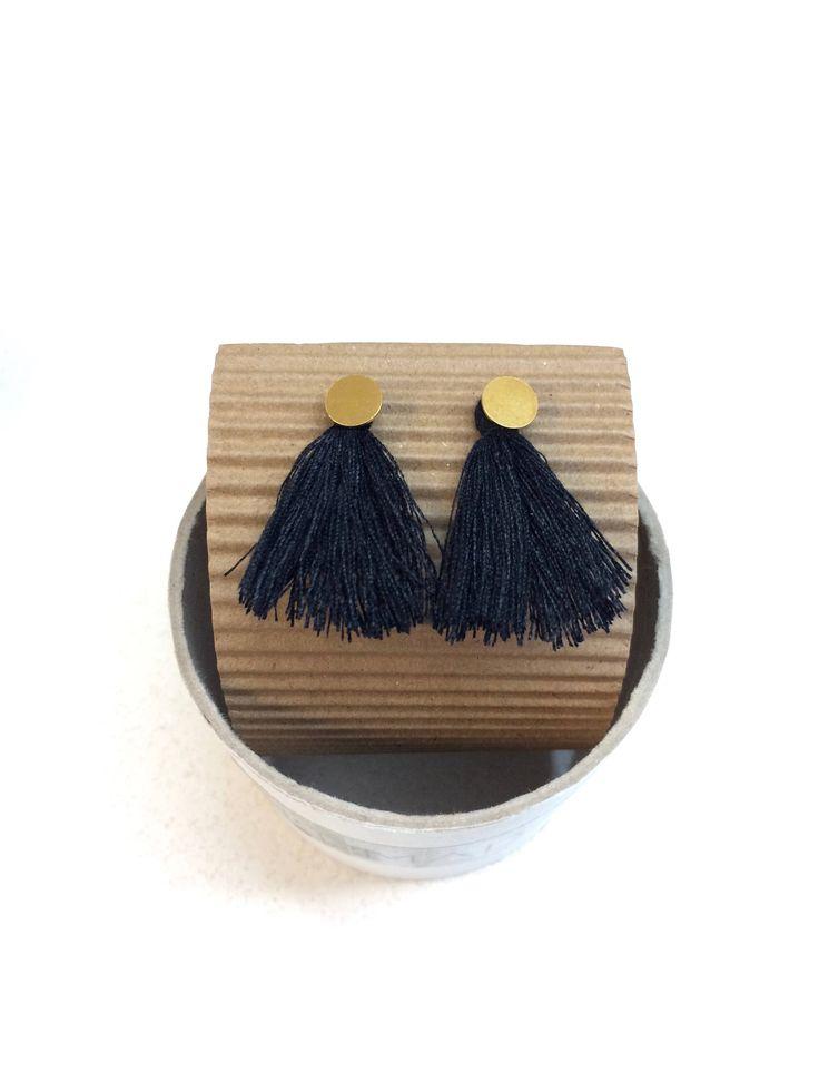 Tassel earrings/silver earring/gold plated/black tassel/christmas gift/gift for her/personalized gift/minimal earring by MOMADjewels on Etsy