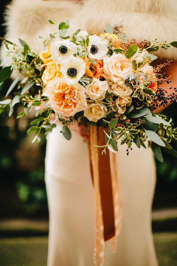#anemone and rose bouquet, photo by Ryan Flynn Photography http://ruffledblog.com/palace-ballroom-wedding #weddingbouquet #flowers