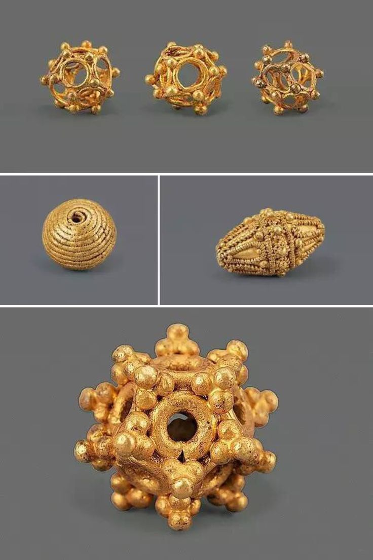 Bactrian Gold beads excavated in China, 1st-2nd c
