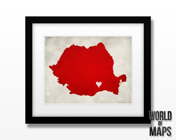 Romania Map Print  Home Town Love  Personalized Art von WORLDofMAPS, $18.00