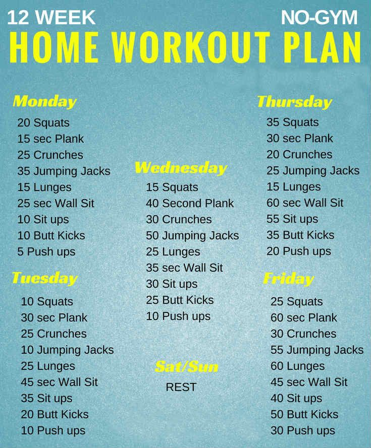 If you want to lose weight, gain muscle or get fit check out our men's and women's workout plans for you, Here are mini-challenges or workouts that can be done at home no equipment needed. 12 Week No-gym Home Workout Plans Workout plans instructions: Repeat this circuit 2 times for beginner 5 times for advanced …