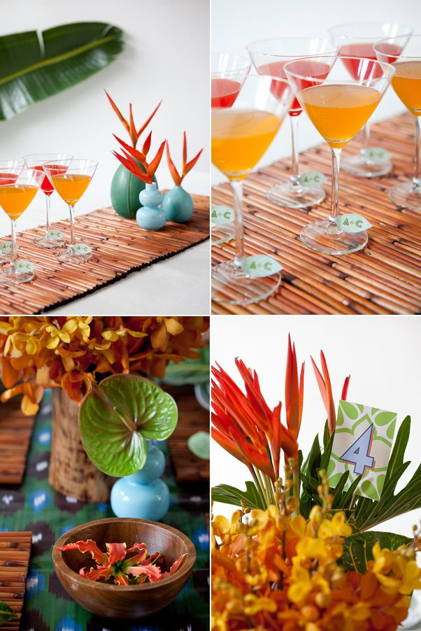 Love the tropical event decor...Colors, drinks, flowers and wood accents