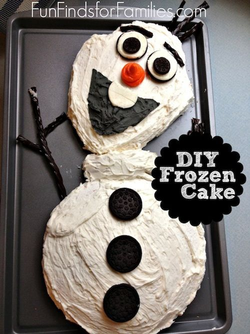 """How much fun is this awesome Olaf Cake? My kids would love to have a quick and easy """"Frozen"""" party!"""