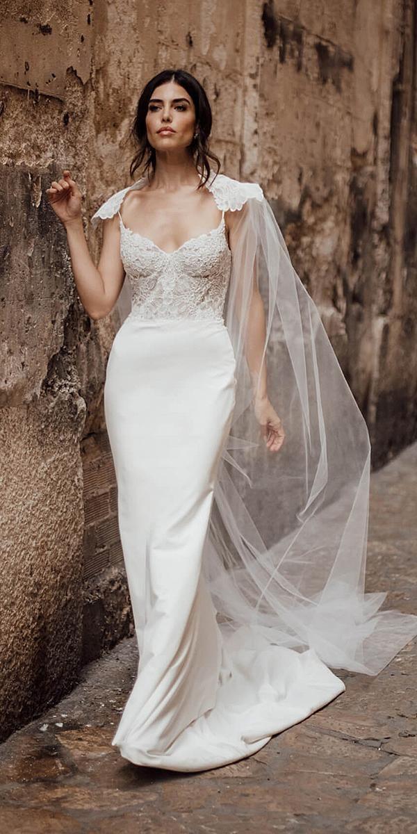 7c389c8726d3 louvienne wedding dresses sheath spaghetti straps lace top with cape 2019