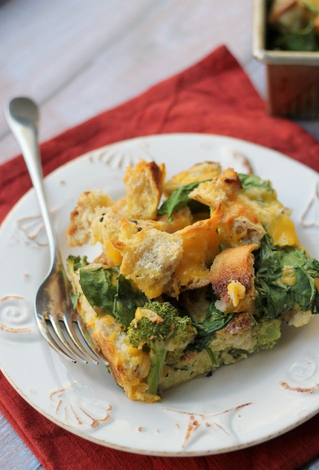 bagel, broccoli and spinach strata