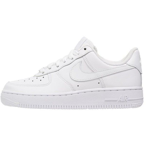 Nike Sportswear AIR FORCE 1 Trainers (€92) ❤ liked on Polyvore featuring shoes, sneakers, nike, trainers, white, flat shoes, white sneakers, nike trainers, round cap and leather flat shoes
