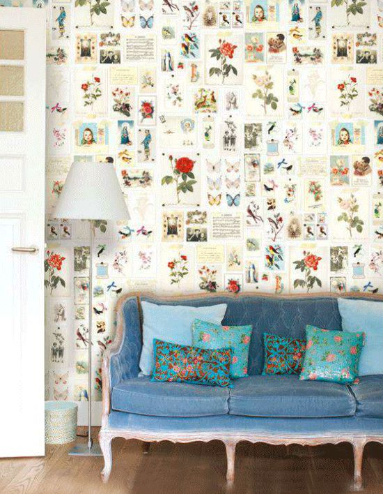 Vintage card patterned wall covering