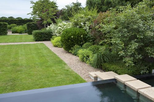 Large family garden with infinity edge pool